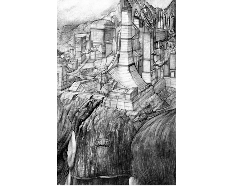 'Alien Mask' 2010 Graphite on paper 30 X 21 cm