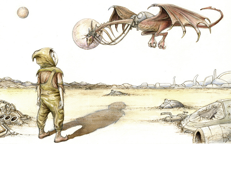 'A boy & his dragon' 2010  Gouache on Arches paper 18.5 X 30 cm