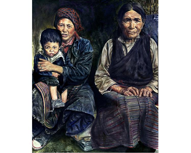 'Tibetans' 2009  Gouache & water-colour on paper 28 X 34 cm