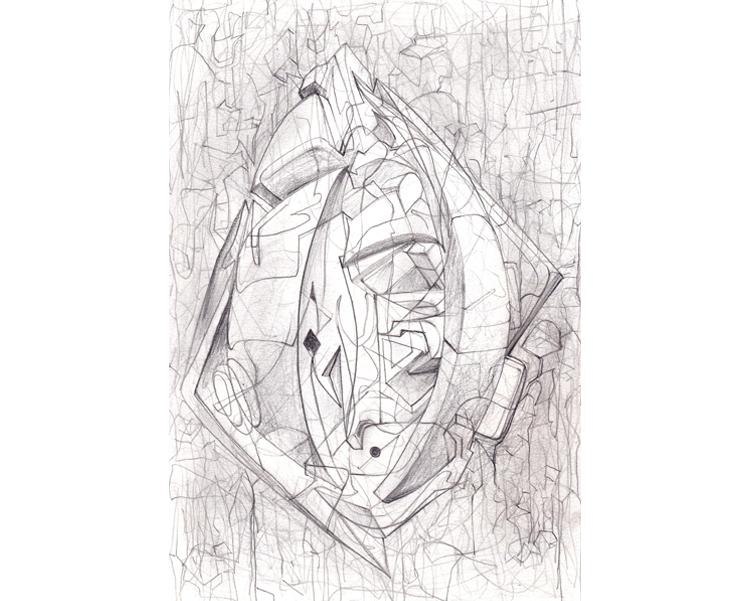 'Alien Relic 2' 2010 Graphite on paper 30 X 21 cm