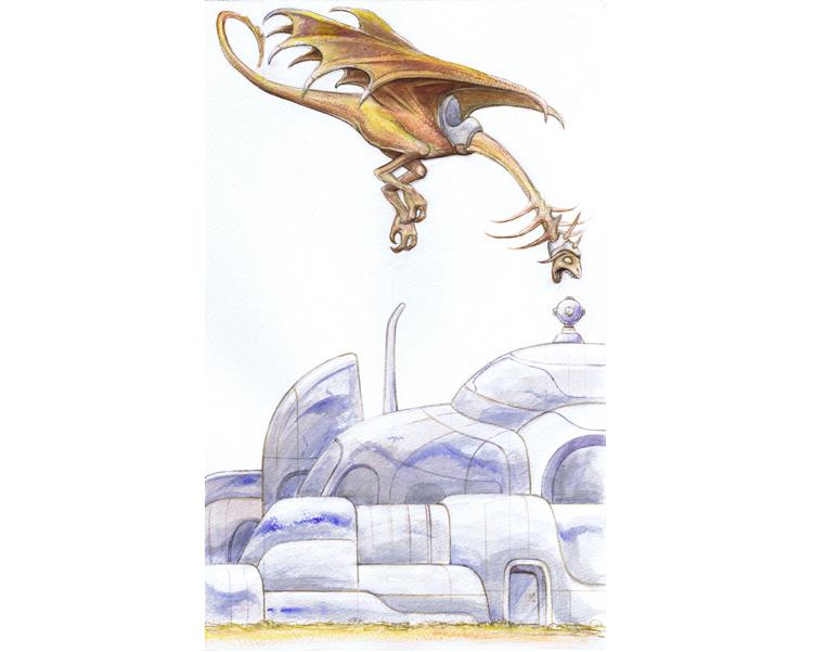 'A boy & his dragon' 2010  Gouache on Arches paper 18.5 X 11.5 cm