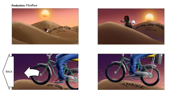 Fibre Flare Bike lights commercial 2012 frames 5-8 digital illustration