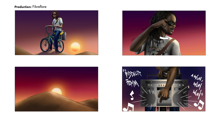 Fibre Flare Bike lights commercial 2012 frames 9-12  digital illustration