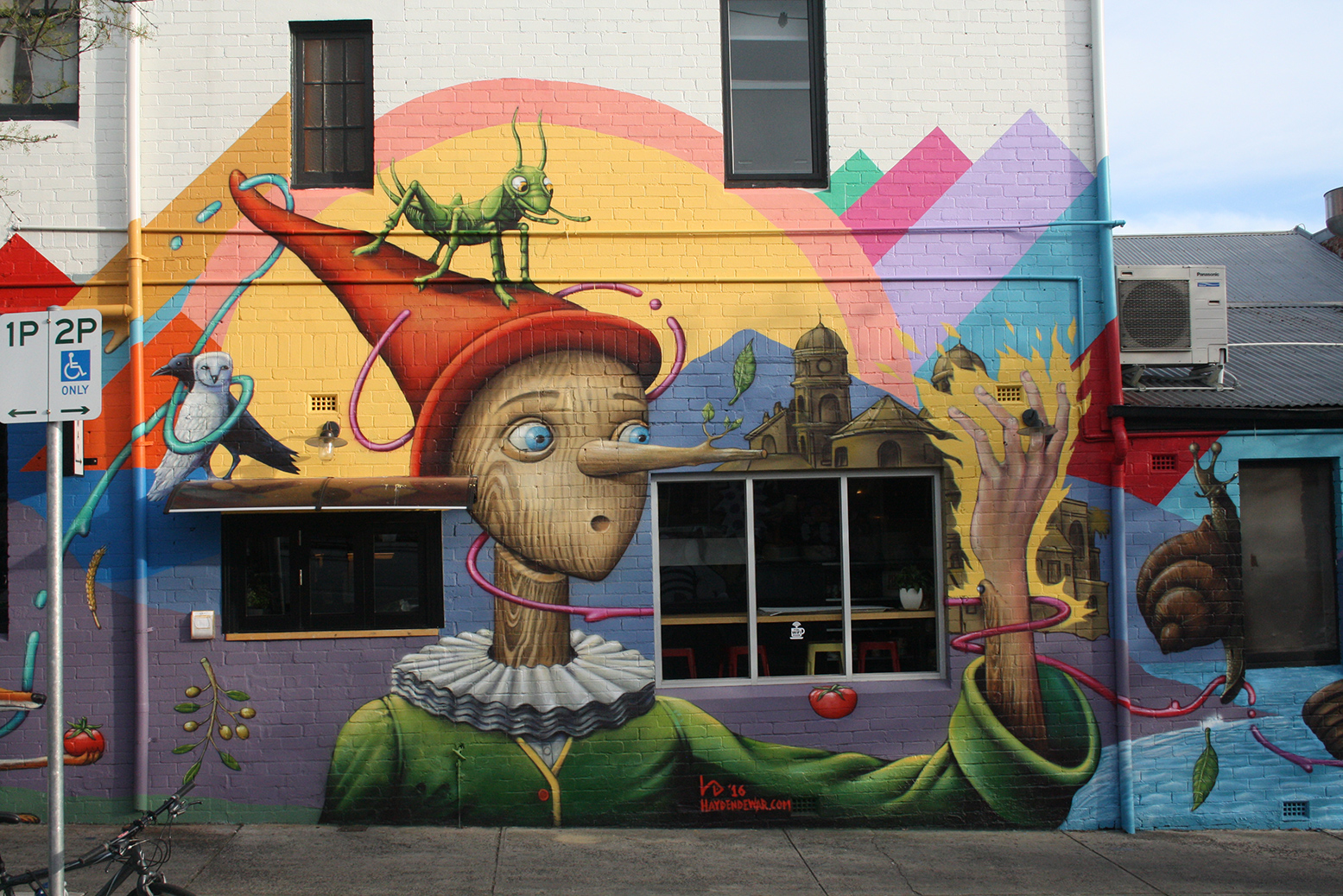 hayden dewar imagestation melbourne based illustrator storyboard pinocchio themed mural for son of a pizzaiolo restaurant